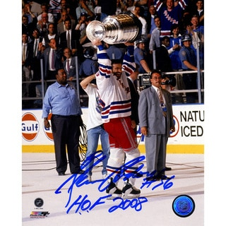 Glenn Anderson Holding Stanley Cup 8x10 Photograph w/ HOF 2008 Insc.