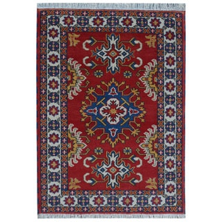 Red Wool Hand-knotted Kazak Rug (4' x 6')