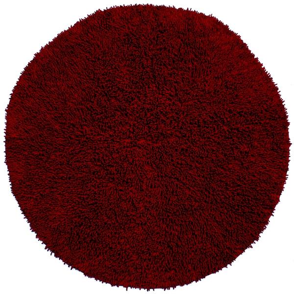 Burgundy Shagadelic Chenille Twist Round Shag Rug 2 X 2