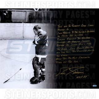 Eddie Giacomin Signed Return to The Garden 16x20 Story Photo (Signed in Silver)