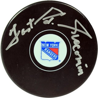 "Eddie Giacomin Signed New York Rangers Logo Puck w/ ""Fast Ed Giacomin"" Insc"