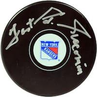 "Eddie Giacomin Signed New York Rangers Logo Puck w/ ""Fast Ed Giacomin"" Insc"