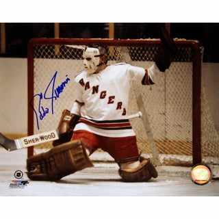Eddie Giacomin Rangers Kick Save Close Up B/W Horizontal 8x10 Photo w/ HOF Inc.