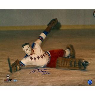 Eddie Giacomin Ranger Save vs Bruins Horizontal 16X20 with HOF Insc
