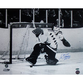 Eddie Giacomin Ranger Kick Save Horizontal 16X20 with HOF Insc