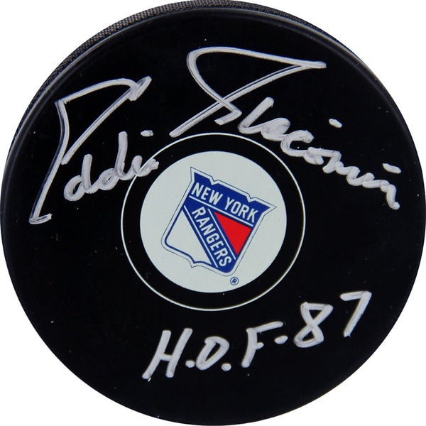 "Eddie Giacomin New York Rangers Autograph  Puck w/ "" HOF 87"" Insc."