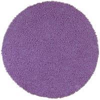 Purple Shagadelic Chenille Twist Round Shag Rug (2' x 2') - 2'