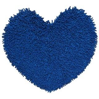 Neon Blue Shagadelic Chenille Twist Shag Heart (1'8 x 2')