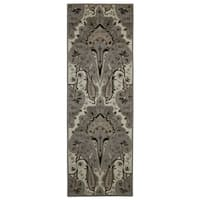 Silver Paisley Wave Wool Runner (2'6 x 12')