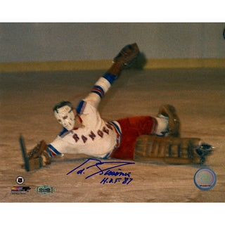 "Eddie Giacomin Diving Save signed 8x10 Photo w/ ""HOF 87"" insc"