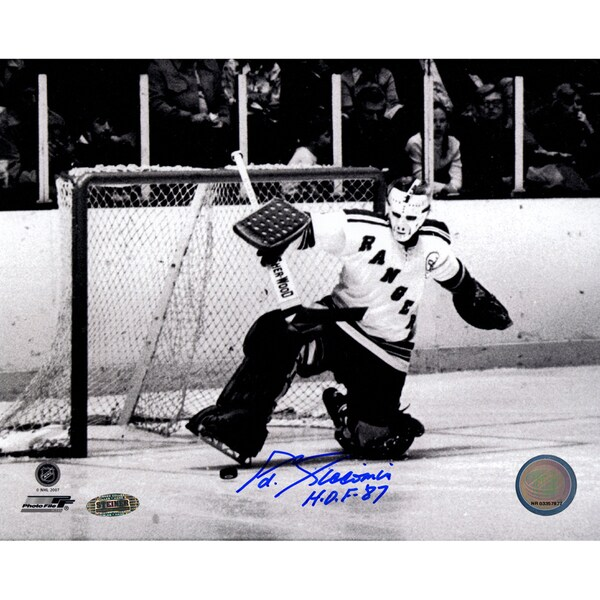 "Eddie Giacomin B/W Kick Save  signed 8x10 Photo w/ ""HOF 87"" insc."