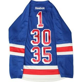 Ed Giacomin/Henrik Lundqvist/Mike Richter Triple Signed Legendary Goalie Jersey (LE/66)