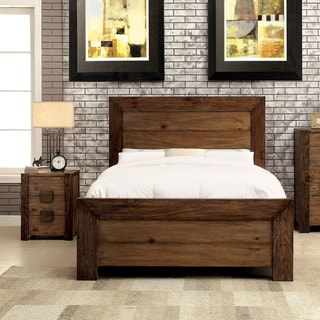 Furniture of America Kailee Rustic 2-piece Natural Tone Platform Bed and Nightstand Set