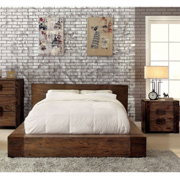 Carbon Loft Olive Rustic 2 Piece Low Profile Bed And Nightstand Set