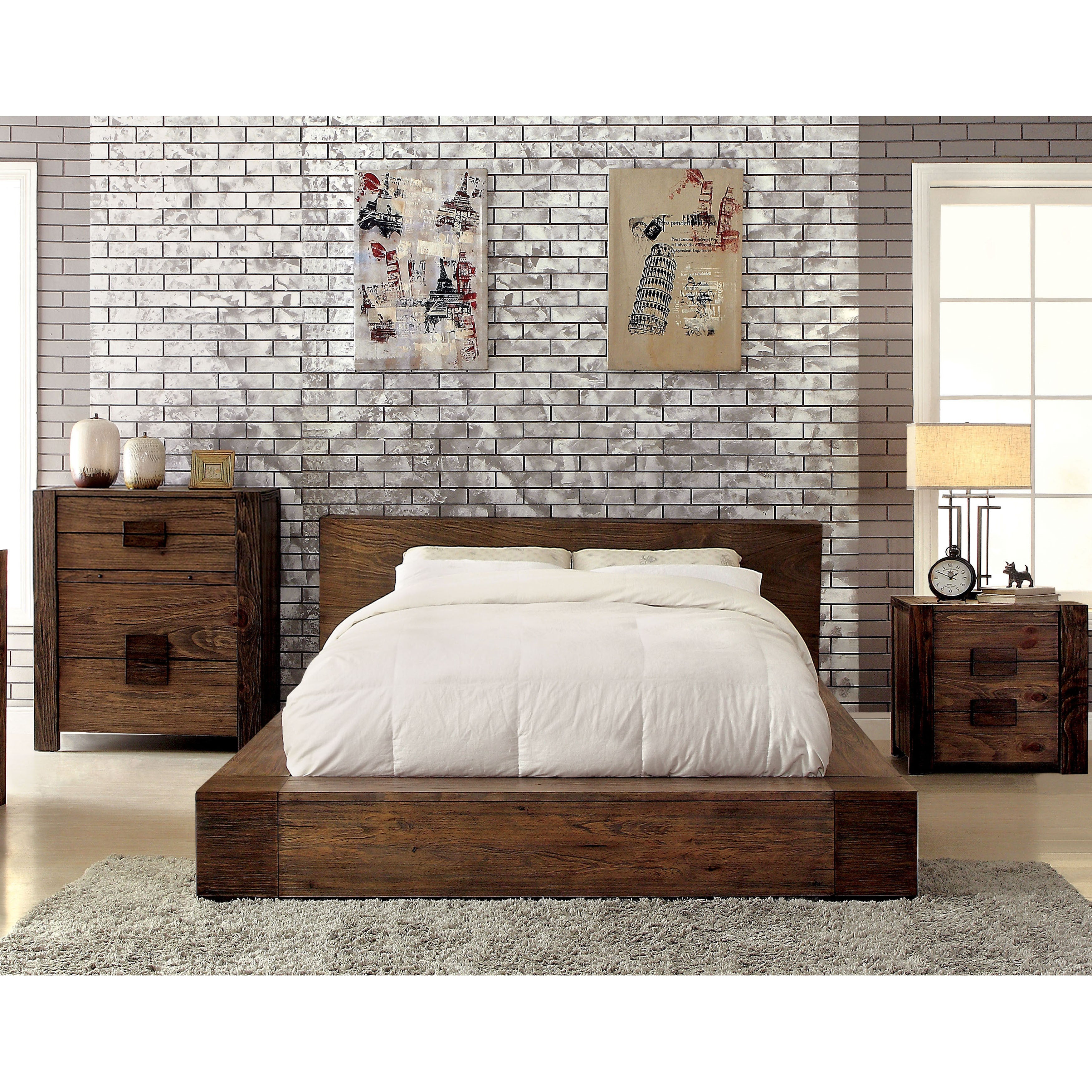 Ordinaire Furniture Of America Shaylen I Rustic 3 Piece Natural Tone Low Profile  Bedroom Set