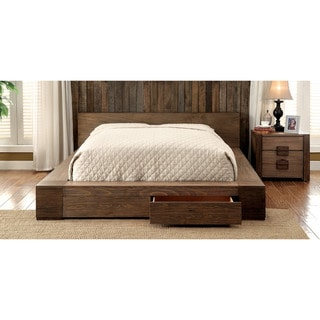 Carbon Loft Olive Rustic 2-piece Natural Storage Bed and Nightstand Stand