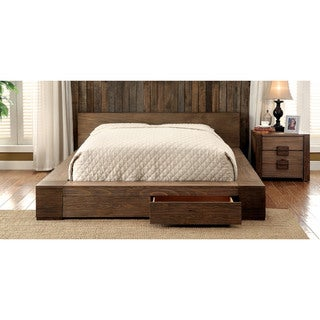 Furniture of America Shaylen II Rustic 2-piece Natural Tone Low Profile Storage Bed and Nightstand Set