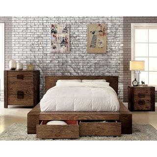 Furniture of America Shaylen II Rustic 3-piece Natural Tone Low Profile Storage Bedroom Set