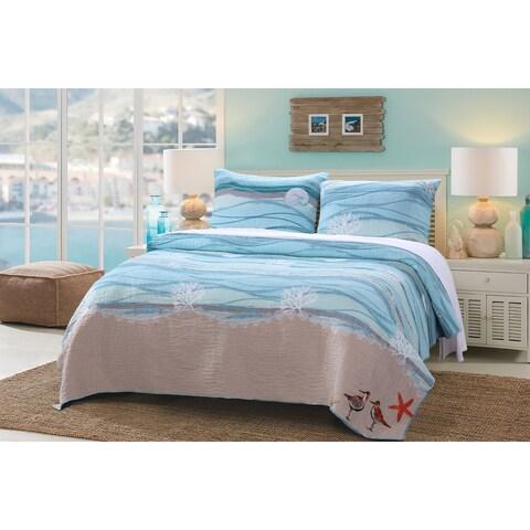 Greenland Home Fashions Maui Coastal Cotton 3-piece Quilt Set