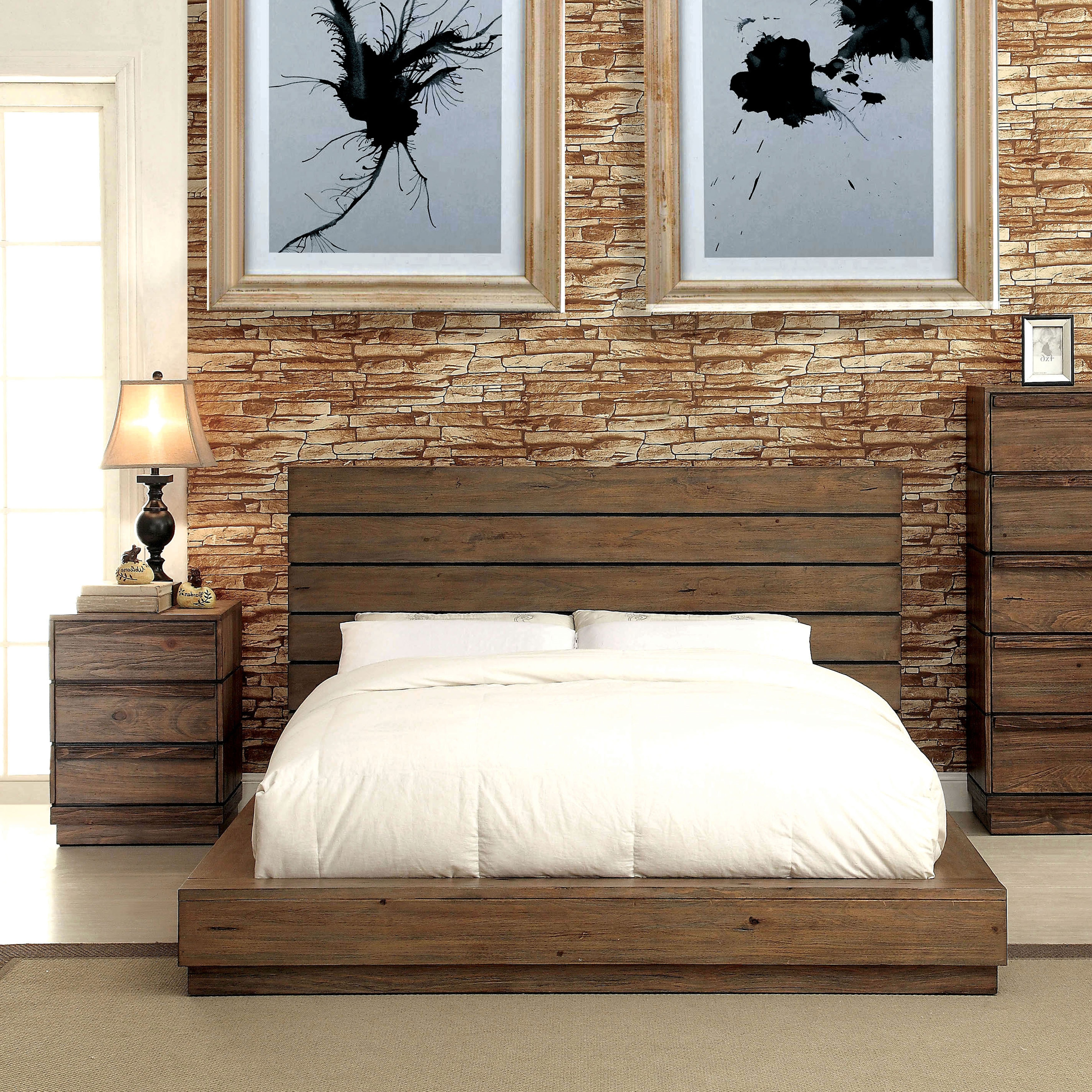 Carbon Loft Edmond 2 Piece Natural Tone Low Profile Bed And Nightstand Set
