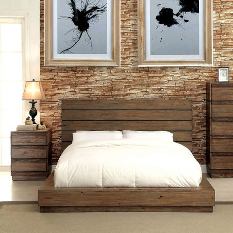 Furniture of America Emallson Rustic 2-piece Natural Tone Low Profile Bed and Nightstand Set