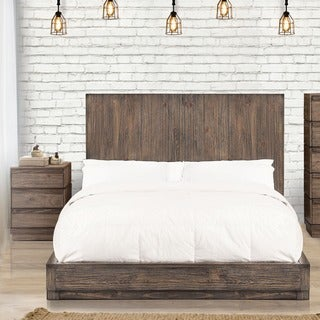 Strick & Bolton Kazuo Rustic 2-piece Low Profile Bed and Nightstand Set