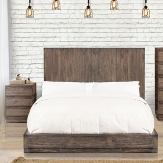 Furniture of America Remings Rustic 2-piece Natural Tone Low Profile Bed and Nightstand Set