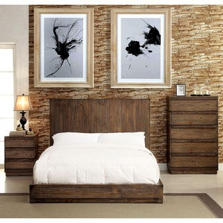 Furniture of America Remings Rustic 3-piece Natural Tone Low Profile Bedroom Set