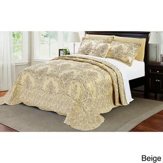 Serenta Damask 4-piece Bedspread Set (Beige - King)