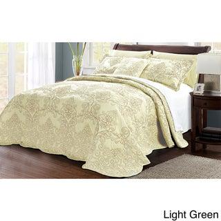 Serenta Damask 4-piece Bedspread Set (Green - King)