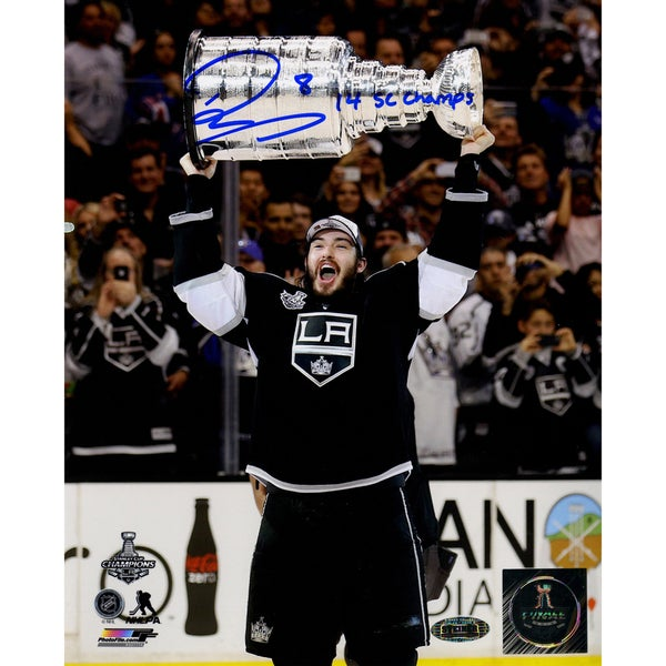"Drew Doughty Signed Los Angeles Kings 2014 Stanley Cup Overheard 8x10 Photo w/ ""14 SC Champ""Insc."