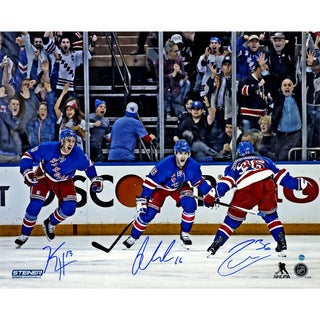Derick Brassard, Mats Zuccarello and Kevin Hayes Celebration Against Pittsburgh Penguins Triple Signed 16x20 Photo