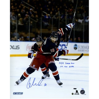 "Derick Brassard Signed Slapshot in Heritage 16x20 Photo w/ ""14/15 Career High 19 Goals, 41 Assists, 60 Points"" Insc (LE/16)"