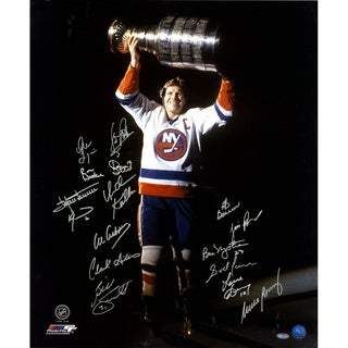 Denis Potvin with Stanley Cup in the Dark 16 Signature 20x24 Photo