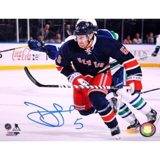 Dan Girardi New York Rangers Signed Horizontal Blue Jersey 16x20 Photo