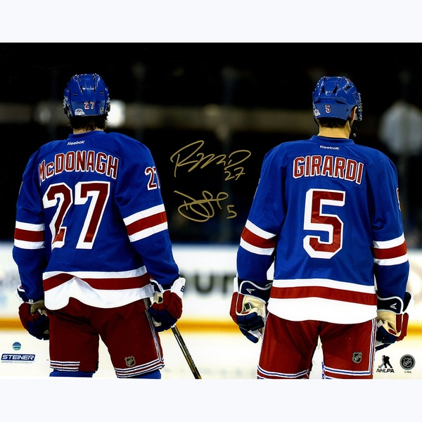 Dan Girardi & Ryan McDonagh Dual Signed Line Up for National Anthem 16x20 Photo