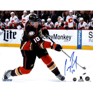 Corey Perry Anaheim Ducks Slap Shot Against Calgary Flames Signed 8x10 Photo