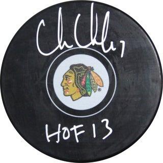 "Chris Chelios Signed Blackhawks Logo Hockey Puck w/ ""HOF 2013"" Insc. ( SchwartzSports Auth)"