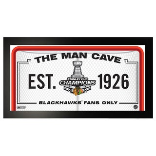 Chicago Blackhawks Stanley Cup Man Cave Sign 10x20 Framed Photo
