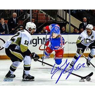 Carl Hagelin Signed Game 5 Winning Shot vs Penguins 8x10 Photo