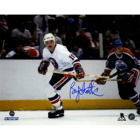 Bryan Trottier Signed White Jersey Skating 8x10 Photo