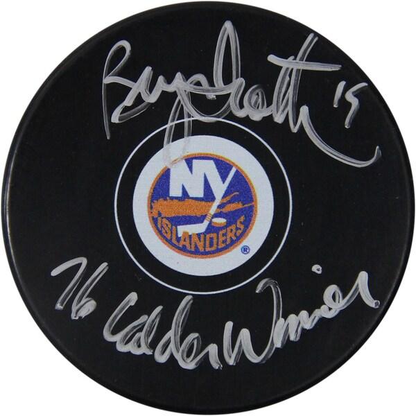 """Bryan Trottier Signed Islanders Puck w/"""" 76 Calder Winner"""" Insc."""