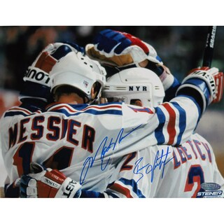 Brian Leetch/Mark Messier Dual Signed Team Huddle Signed 8x10 Photo