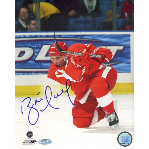 Brett Hull Red Wings Red Jersey Slap Shot Vertical 8x10 Photo