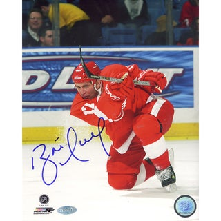 Brett Hull Red Wings Red Jersey Slap Shot Vertical 8x10 Photo