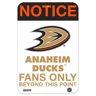 Anaheim Ducks Fans Only 8x12 Aluminum Sign