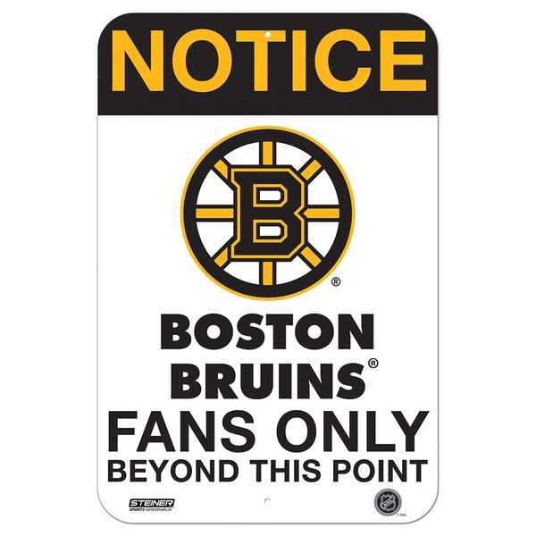 Boston Bruins Fans Only 8x12 Aluminum Sign