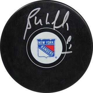 Bernie Nicholls Signed NY Rangers Puck