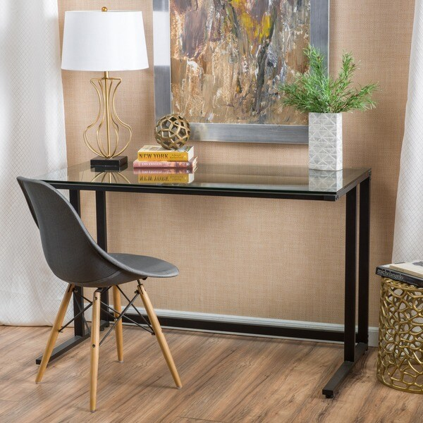 shop eghan glass computer desk by christopher knight home on sale free shipping today. Black Bedroom Furniture Sets. Home Design Ideas