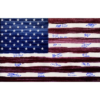 1980 USA Hockey Team Signed American Flag 20X32 Photo w/ Inscriptions (16 Signatures) (L/E 80)